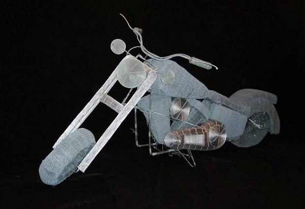 Wire sculpture motorcycle