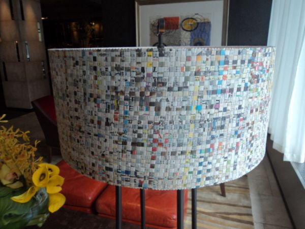 Woven Newspaper Lampshade 2