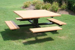 RecycledLumber-4Seat-picnicTable-inGround