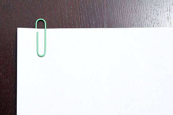Blank document with paper clip