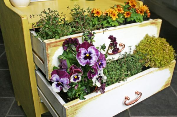 Old dresser turned into a garden