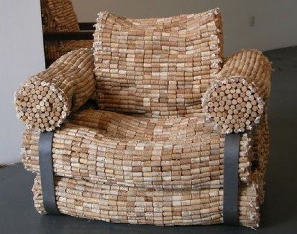 Recycled wine cork chair