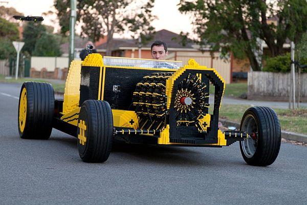 LEGO car running on compressed air