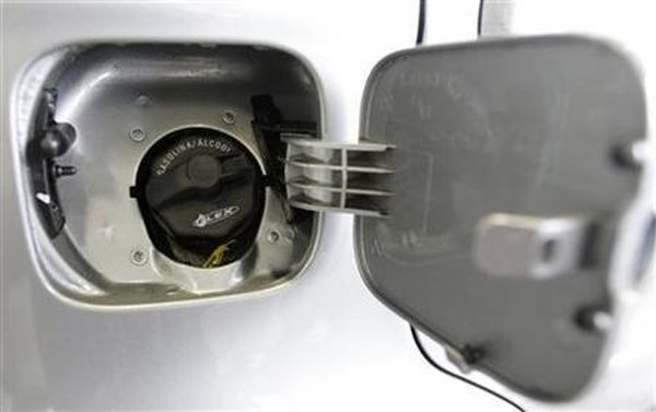 Gas cap of a car that can run on either gasoline or ethanol is pictured at a showroom in Rio de Janeiro