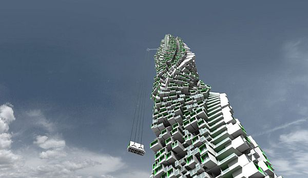 Jenga-like building concept by Y Design, Hong Kong