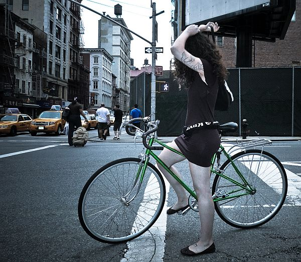 lady and bike