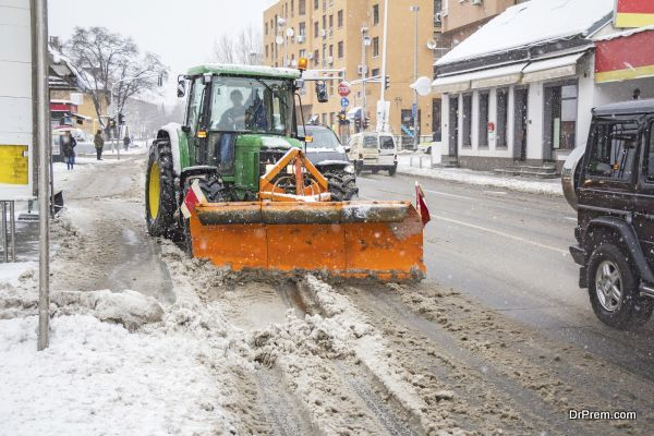 Clearing roads of snow