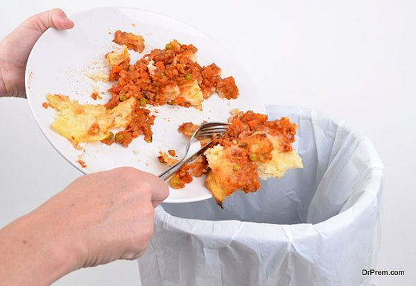 Removing food into a bin