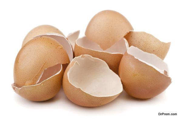 Group of broken egg shells isolated