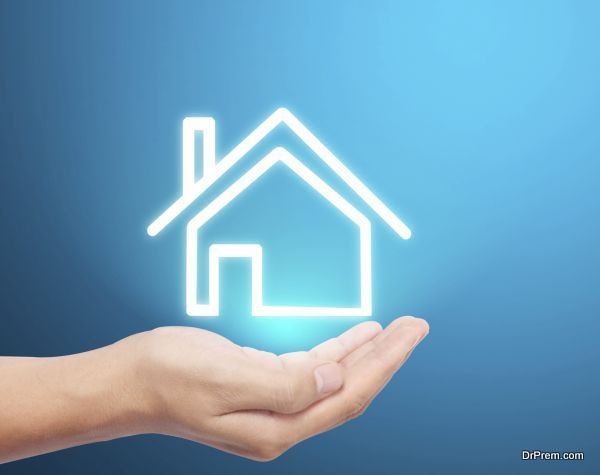 the house icon in hand
