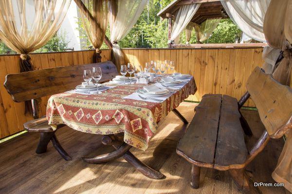 gazebo with table set