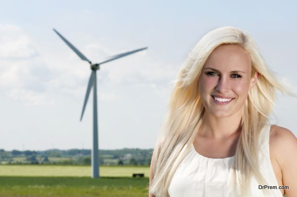 lady and wind mill