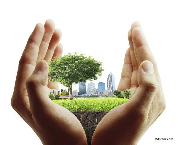 human hand holding  city