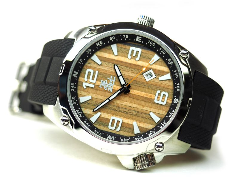 Men's watch made from recycled skateboard