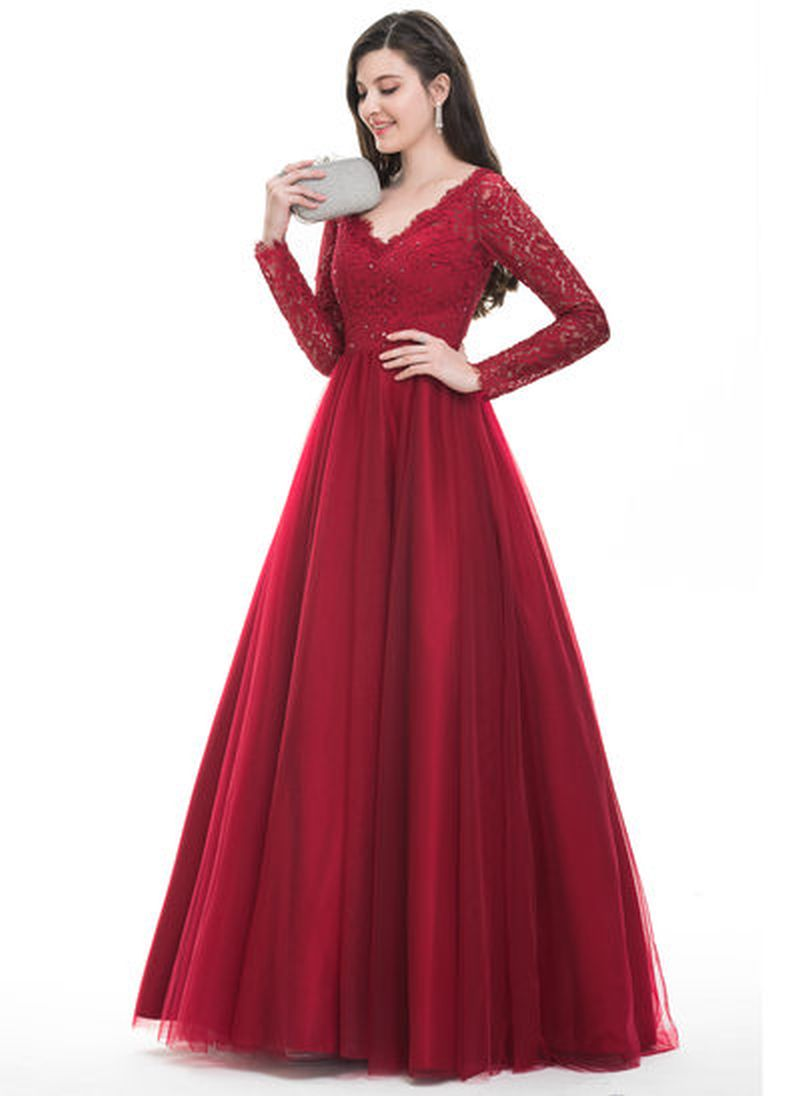 Lace prom dress with long sleeve