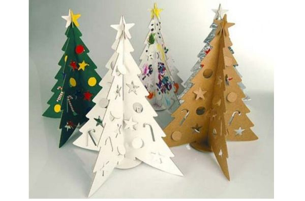 creative Christmas trees made using recycled materials