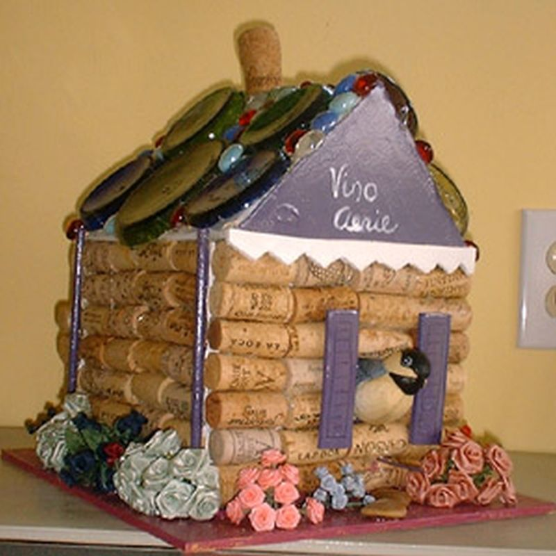 Birdhouse Out of Old Wine Corks by Arlene Wright-Correll