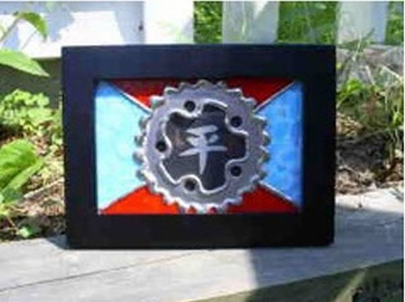Framed Recycled Bike Art