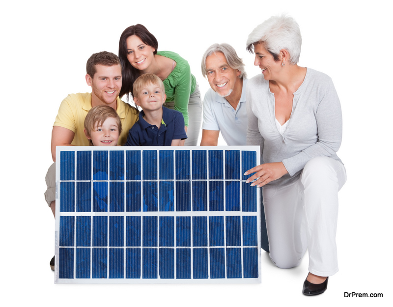 family with solar panel