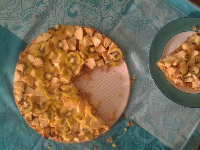 appelkruimelkoek met kiwi