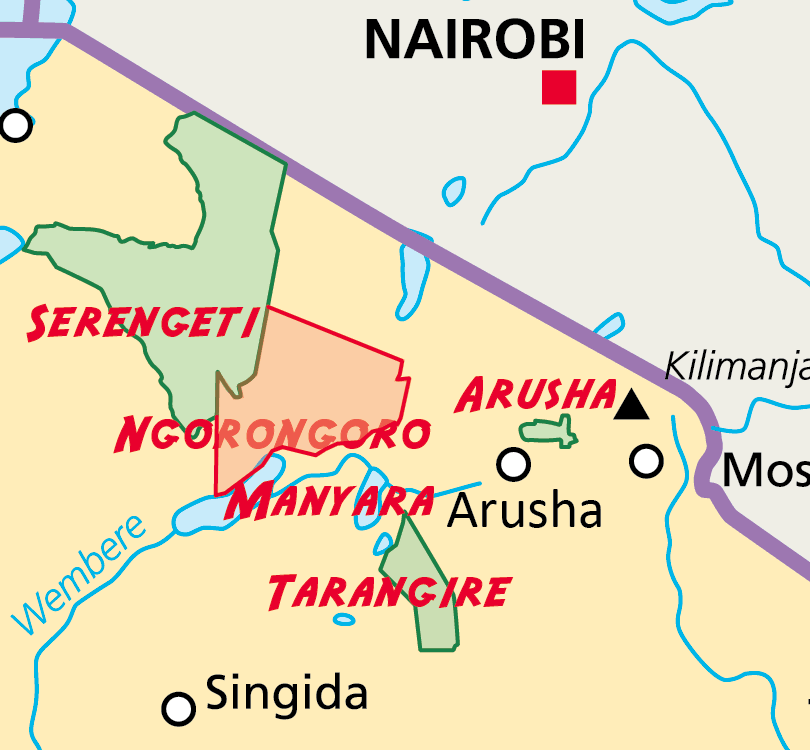 Northern Tanzania national parks map