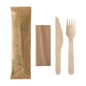Cutlery set, wooden knife, fork, napkin in paper bag (50 pcs)