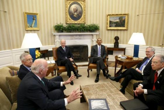 U.S. President Obama meets with the bipartisan leaders of the Senate to discuss the Supreme Court vacancy left by the death of Justice Scalia, at the White House in Washington