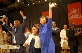 latoya-cantrell with family at victory partyjpg