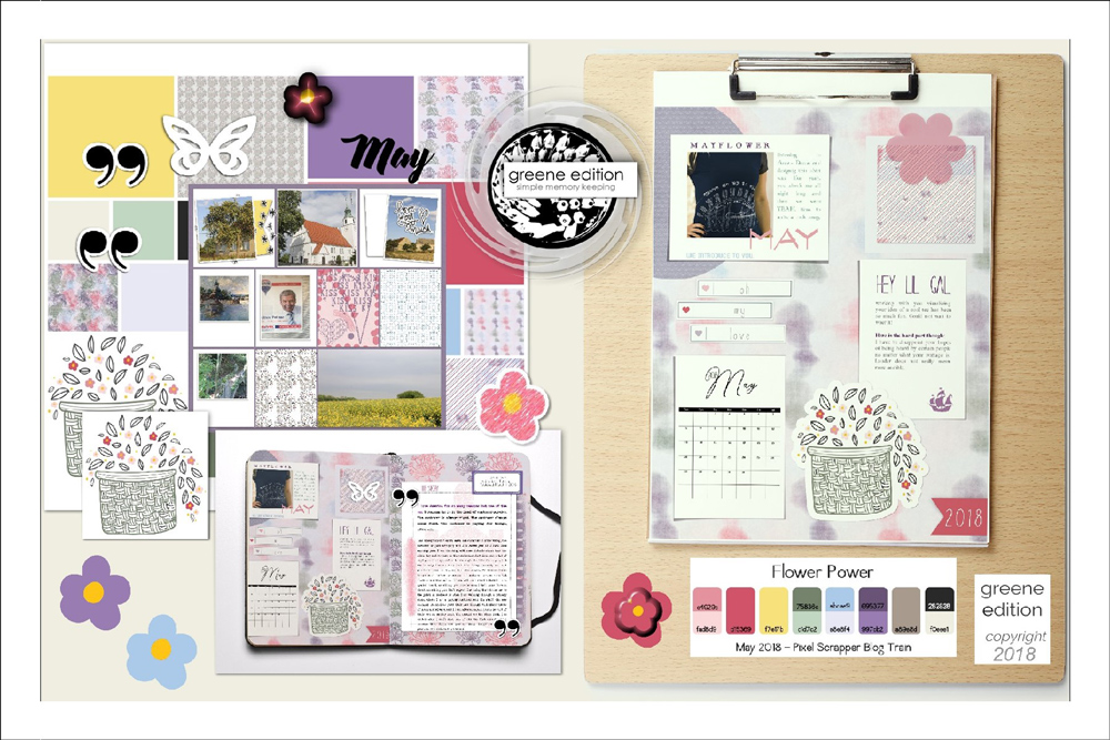 Flower Power Free Page Layout Kit- copyright greene edition 2018 - all rights reserved