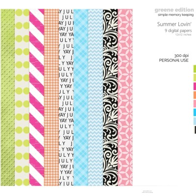 Greene Edition Greene Edition Summer Lovin Digital Papers