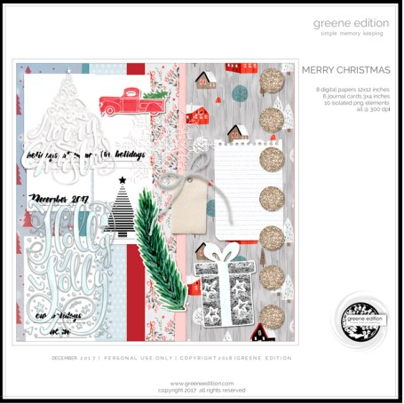 greeneEdition, freebie, digital scrapbookig kit, Merry hristmas, December 2017