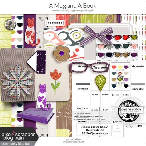 greene edition, digital scrapbooking kit, A Mug and A book