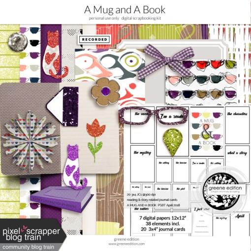 greene edition, digital scrapbooking kit, A Mug and A book