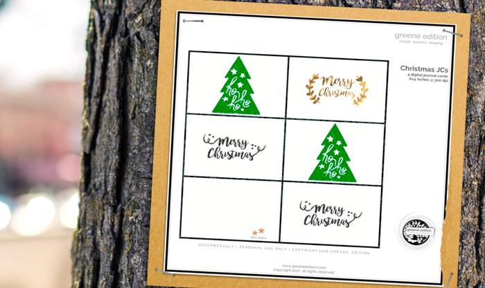 Freebie: Merry Christmas Journal Cards
