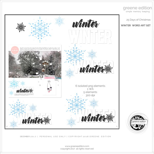 greene edition - winter word art set - digital scrapbooking freebie