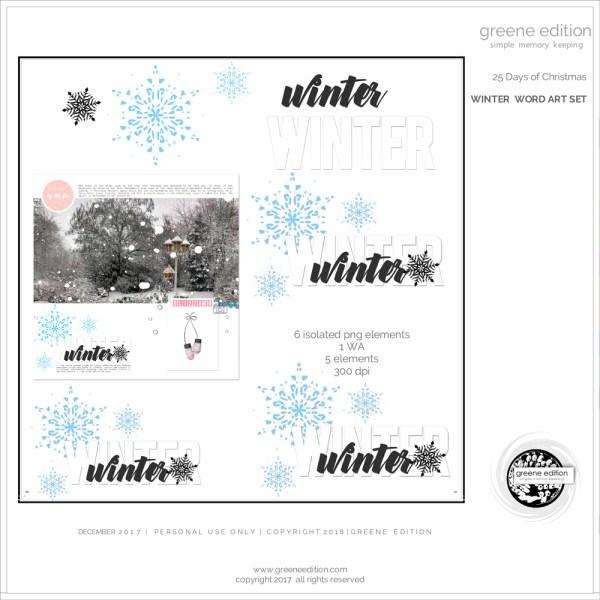 greene edition - winter word art set - digital scrapbooking freebie