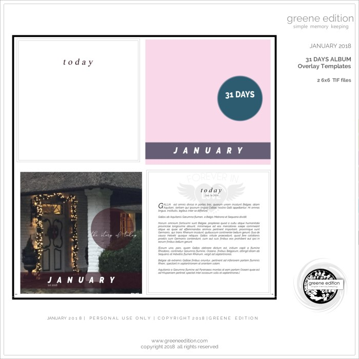 simple memory keeping - 31 days album - greene edition - copyright