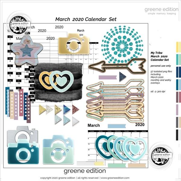 March 2020 Calendar Kit, My Tribe Mini Kit, greene edition, copyright 2020 greeneedition.com