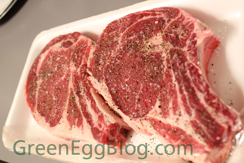 Steaks before the Big Green Egg Cooking