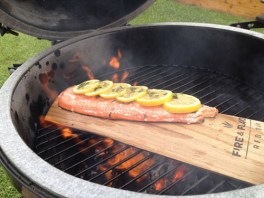 Red Oak Planked Salmon - Flaring Up