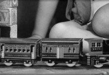 child with train set