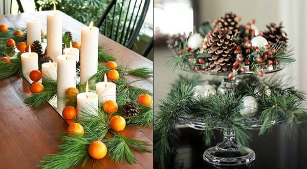Christmas Green Decorations and Oranges