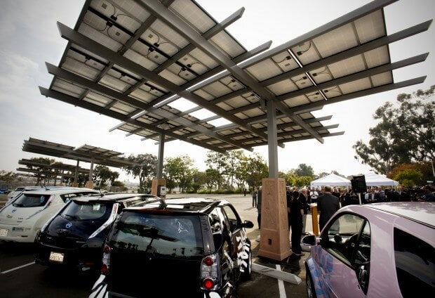San Diego zoo electric vehicle charging solar panels