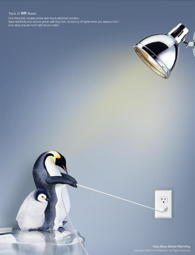 Penguins unplugging light