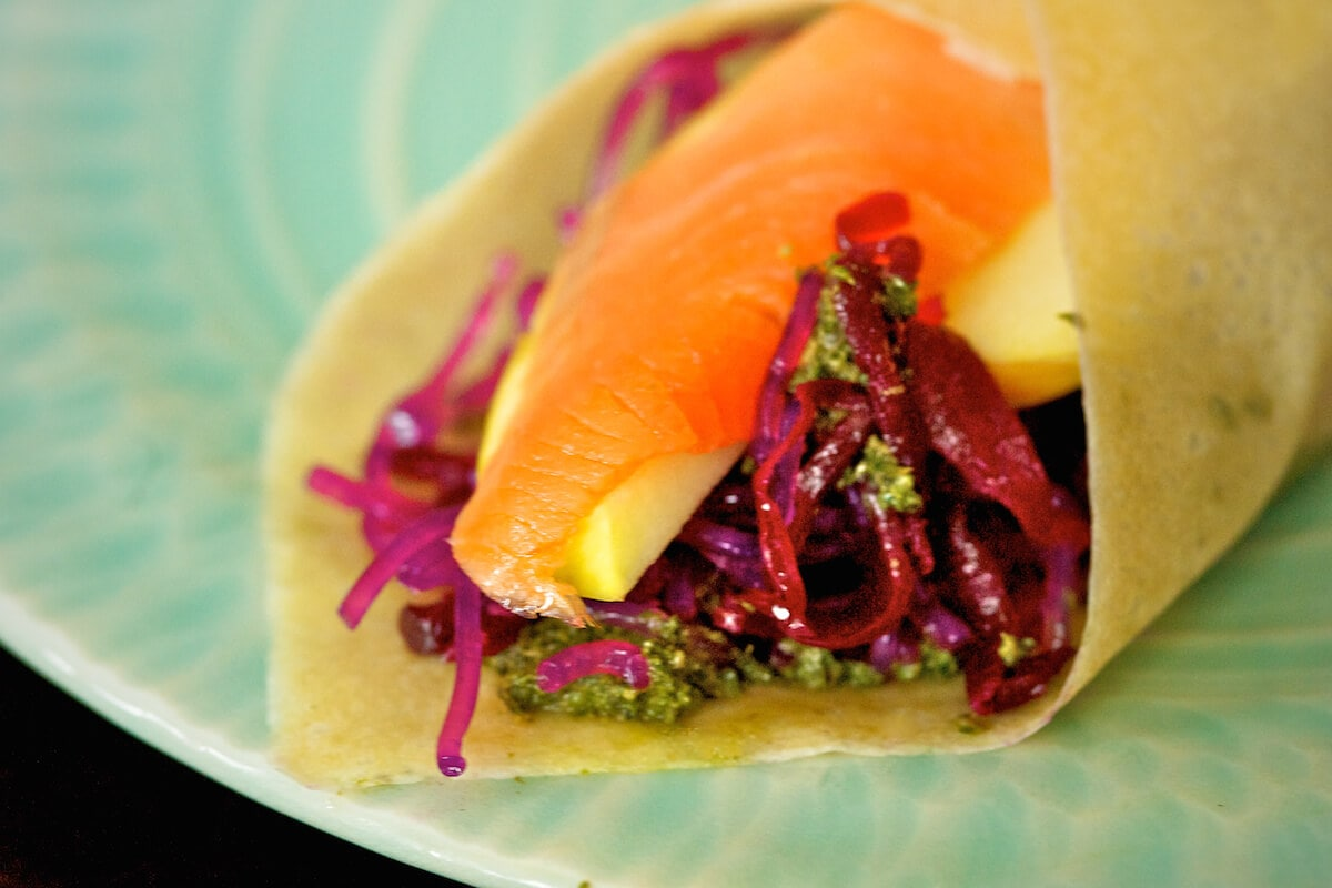 Coconut Meat Wraps with Smoked Salmon