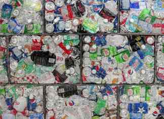 crushed cans for recycling