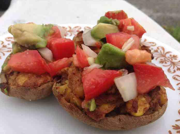 fresh avocado pico on vegan taco skins