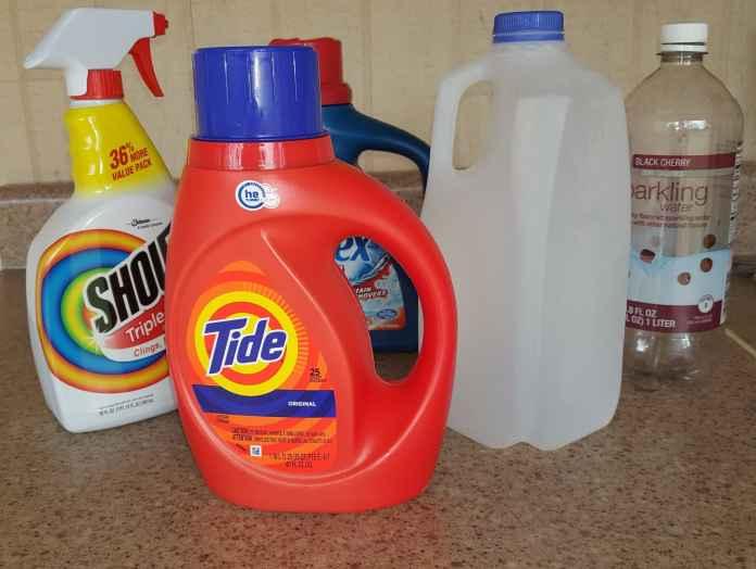 plastic laundry bottles