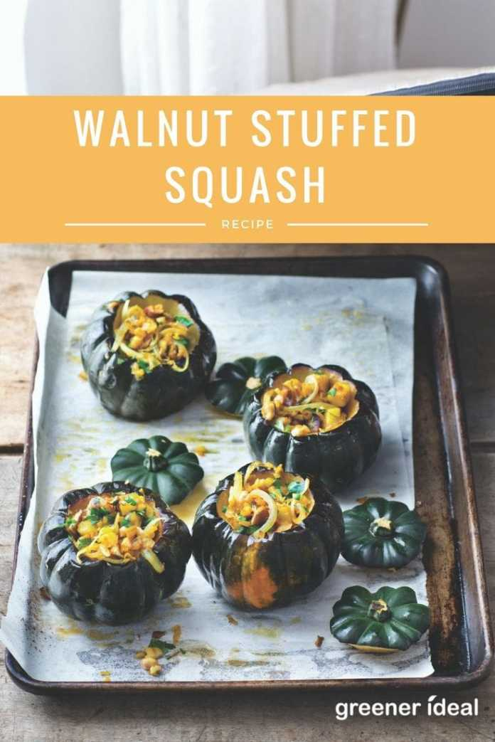 Walnut stuffed squash recipe – perfect for vegetarian or vegan Thanksgiving dishes!