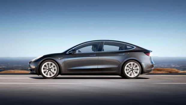Tesla Model 3 in Dark Grey from the side